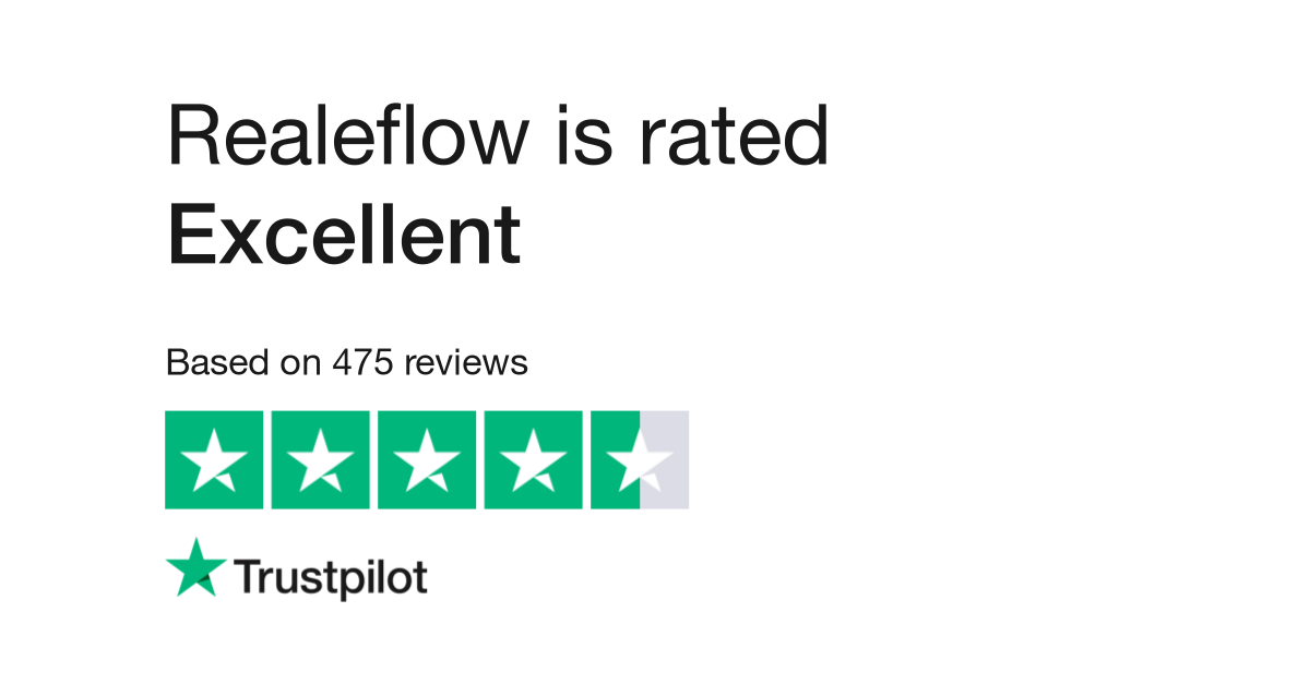 Realeflow is rated excellent on trust pilot