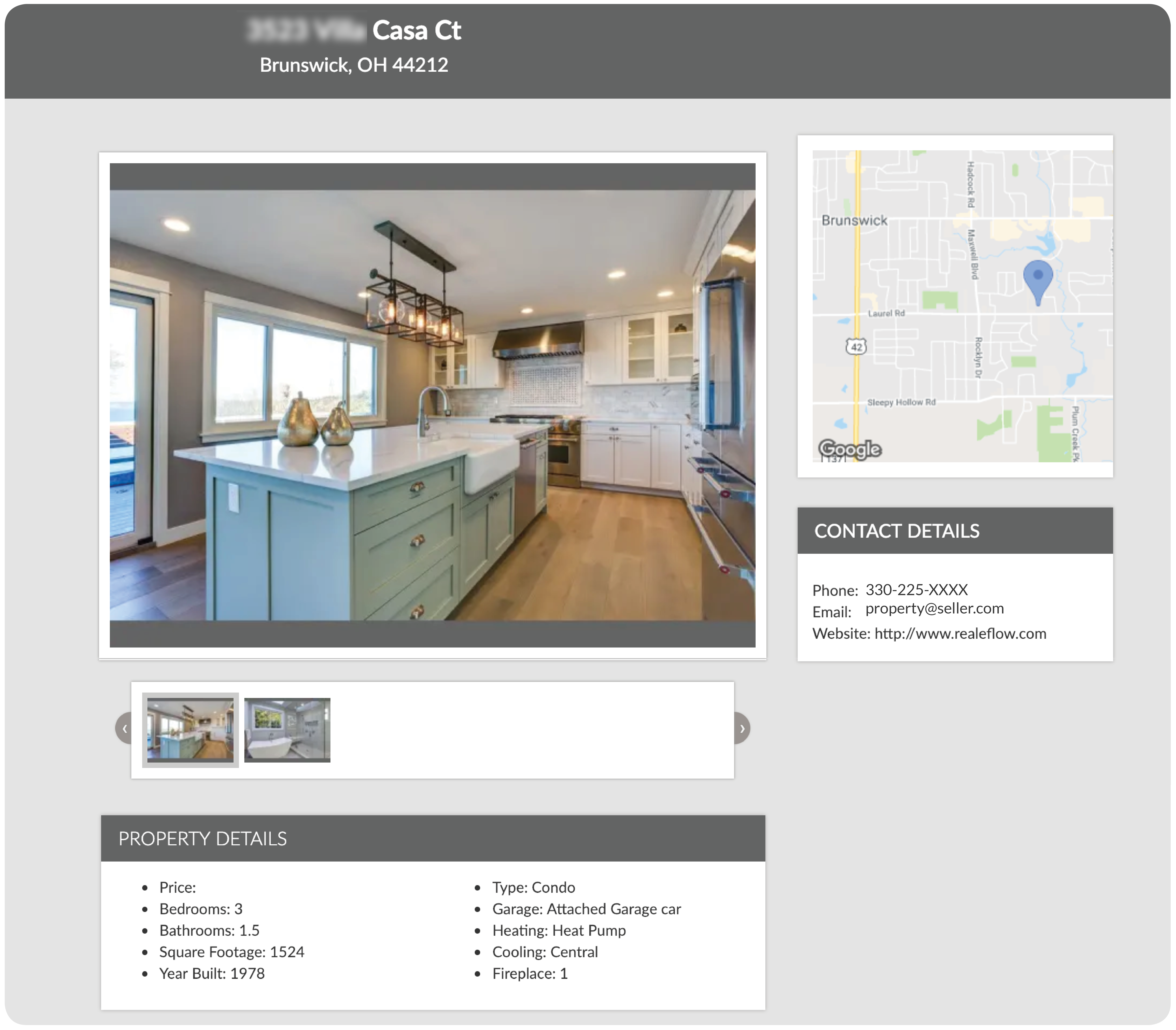 property listing pages for real estate investors
